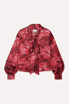 Ganni Pussy-bow Printed Silk-blend Satin Blouse - Red