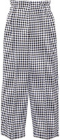 Sonia Rykiel Cropped Gingham Wool Wide-leg Pants - Black