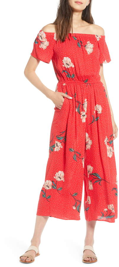 Love, Fire Floral & Polka Dot Off the Shoulder Jumpsuit
