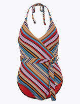 Marks and Spencer Chevron Printed Belted Halter Neck Swimsuit