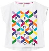 Benetton White Graphic Print Logo T-shirt