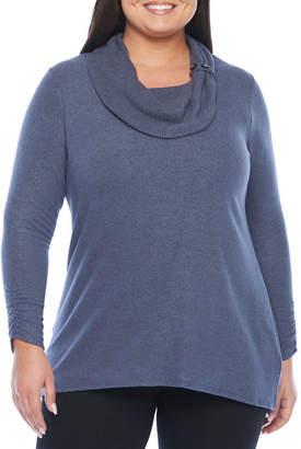 Alyx Womens Cozy Button Cowl Knit Sweater - Plus
