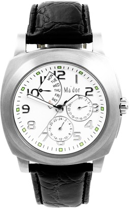 Ma'dor Mador - G04021-W - Men Watch - Quartz - Analog Display - Sportly - Classic and elegant - Black Leather Bracelet - White Dial
