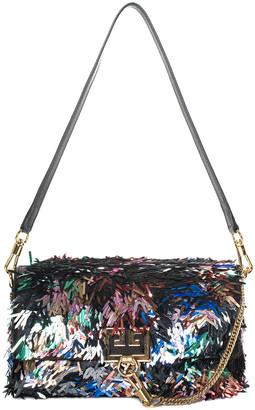Givenchy Black Sequin & Leather Charm Shoulder Bag