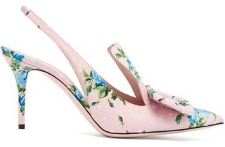 Emilia Wickstead Buckle Floral-print Fil-coupe Pumps - Pink