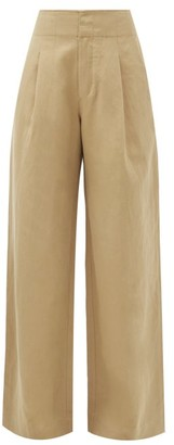 Apiece Apart Enchanta High-waist Linen-blend Wide-leg Trousers - Tan