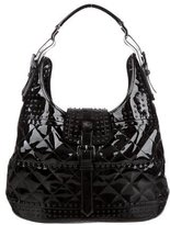 Burberry Patent Leather Studded Brook Hobo