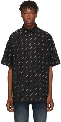 Balenciaga Black and White All Over Logo Short Sleeve Shirt