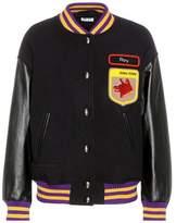 Miu Miu Leather-sleeved wool bomber jacket