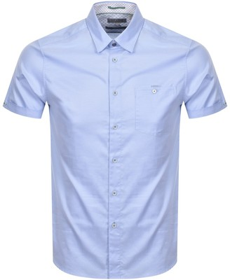 Ted Baker Oxford Short Sleeved Shirt Blue