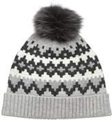 Sofia Cashmere Women's 100% Graphic Fairisle Hat with Fox Fur Pom