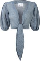 Lisa Marie Fernandez Pouf-Sleeve Cropped Linen-Blend Blouse