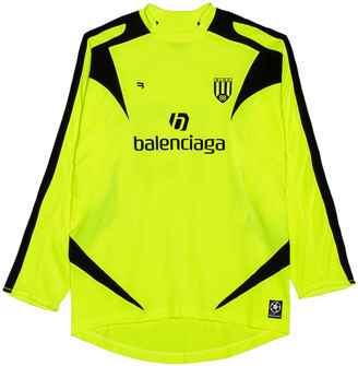 Balenciaga Long Sleeve Soccer T-Shirt in Fluo Yellow & Black | FWRD