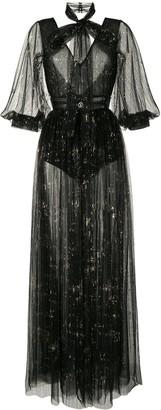 Saiid Kobeisy Backless Sheer Dress