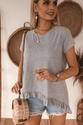 Jenerique Grey Summer Top/T-shirt with frll hem