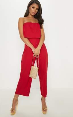 PrettyLittleThing Red Bandeau Fold Detail Wide Leg Culotte Jumpsuit