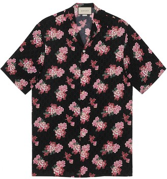 Gucci Peony print silk bowling shirt