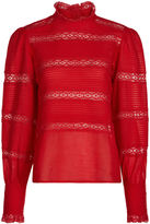Etoile Isabel Marant Red Cotton Lace Trim Blouse