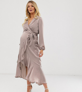 Flounce London Maternity satin wrap front midi dress in antique