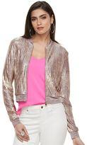 JLO by Jennifer Lopez Women's Metallic Crop Bomber Jacket