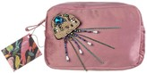 Laines London Blush Pink Velvet Bag With Crystal Jellyfish Brooch