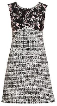 Giambattista Valli Embroidered Floral & Tweed Sheath Dress