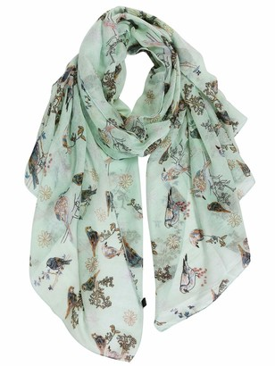 GERINLY Scarfs for Women Lightweight Floral Birds Print Cotton Scarves and Wraps for Holiday - green - Medium