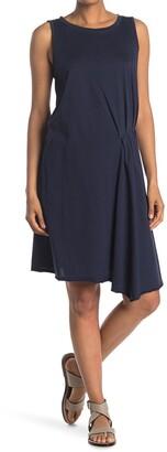 Stitchdrop Pleated Asymmetrical Hem Sleeveless Dress