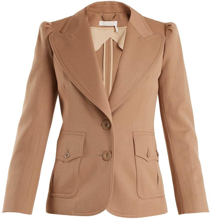 Chloé Peak-lapel single-breasted wool-blend jacket