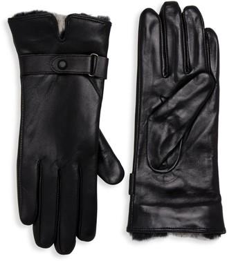 La Fiorentina Rabbit Fur-Trim Leather Gloves