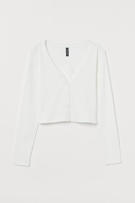 H&M V-neck Jersey Top - White