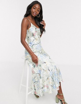 NEVER FULLY DRESSED cowl front cami strap midi dress with ruffle hem in floral print