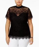 Almost Famous Trendy Plus Size Mock-Neck Lace Top