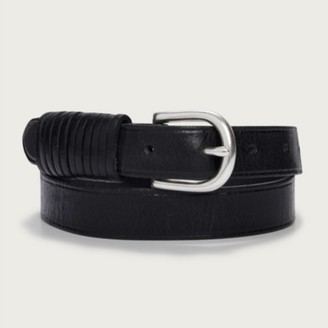 The White Company Leather Looped Jeans Belt, Black, Small