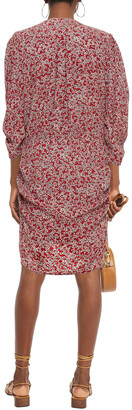 BA&SH Crystal Ruched Floral-print Crepe Mini Dress