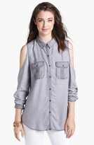 Rubbish Cold Shoulder Chambray Shirt (Juniors)