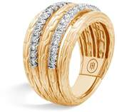 John Hardy 18K Yellow Gold Classic Chain Five Row Ring with Diamonds