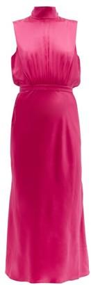 Saloni Fleur High-neck Silk-satin Midi Dress - Womens - Pink