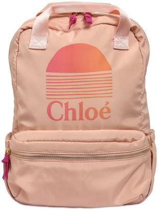 Chloé Logo Print Nylon Backpack