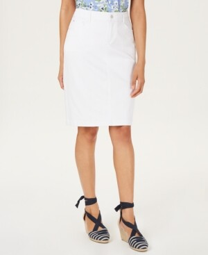 Charter Club Petite Denim Tummy-Control Skirt, Created for Macy's