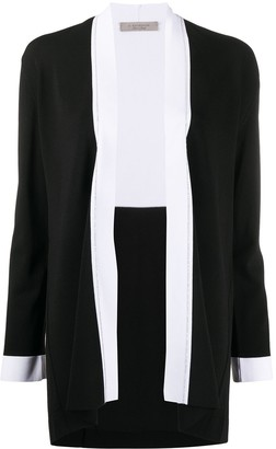 D-Exterior Contrast-Trimmed Knitted Cardigan