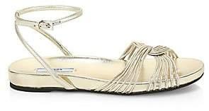 Prada Women's Metallic Leather Ankle-Strap Flat Sandals