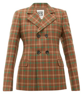 Connolly - Double-breasted Checked Wool Blazer - Brown Multi