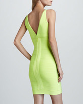 Herve Leger V-Neck Bandage Dress, Neon Yellow