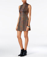 Bar III Mock-Neck Fit and Flare Dress, Only at Macy's