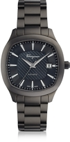 Salvatore Ferragamo Time Gun IP Stainless Steel Men's Automatic Watch w/Blue Guilloche' Dial