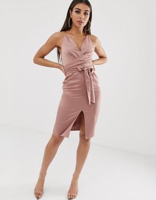 ASOS DESIGN satin cami midi dress with wrap waist in mink