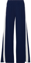 Norma Kamali Striped Stretch-jersey Wide-leg Pants - Navy