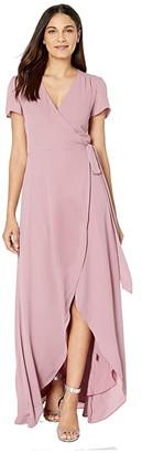 WAYF Zoey Short Sleeve Wrap Dress (Mauve) Women's Dress