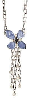 Alexis Bittar Future Antiquity Gray Slate Crystal, Imitation Pearl & Lucite Flower Statement Necklace, 20